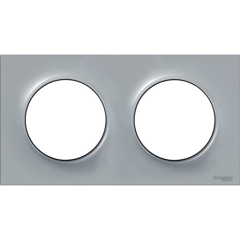 Plaque Double Odace Schneider Electric Gris Cendre