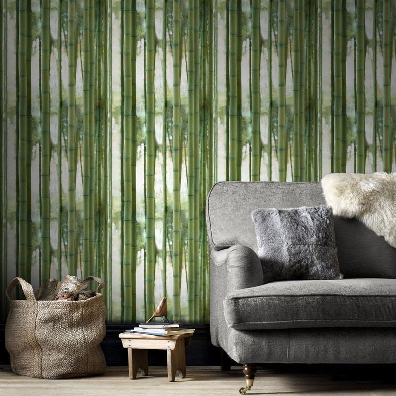 Papier Peint Intissé Bamboo Vert Leroy Merlin
