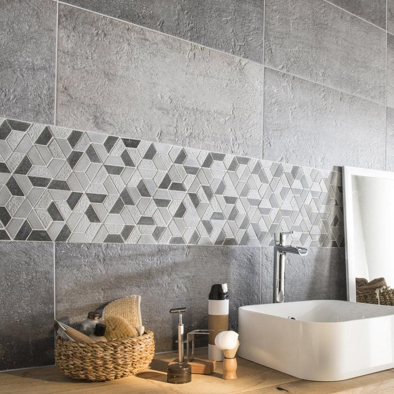 mosa que mural graphique grise leroy merlin. Black Bedroom Furniture Sets. Home Design Ideas