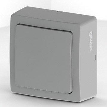 Interrupteur va-et-vient saillie Opus, LEXMAN, gris aluminium