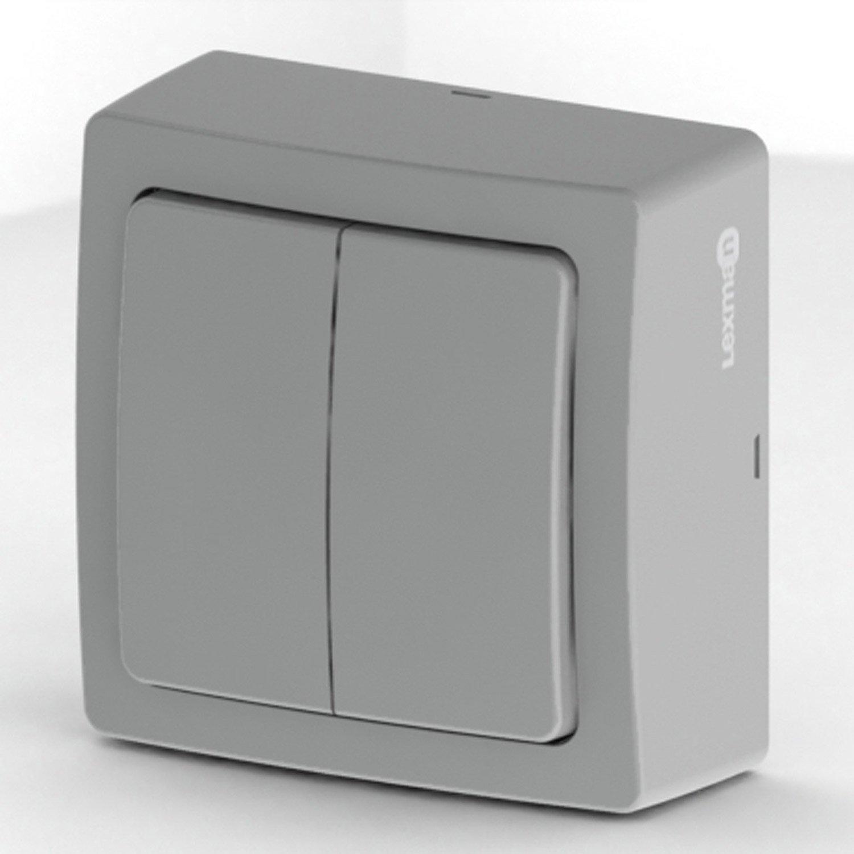 double interrupteur va et vient saillie opus lexman gris. Black Bedroom Furniture Sets. Home Design Ideas