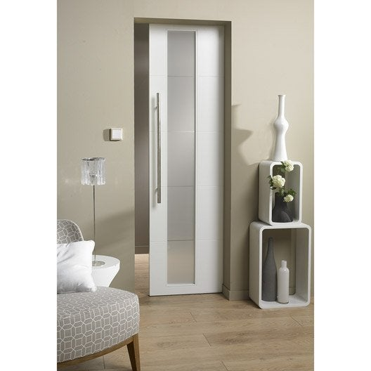 Bloc porte laqu e blanc alaska 2 artens x cm - Porte salle de bain vitree ...