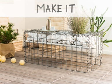 diy fabriquer une table basse gabion leroy merlin. Black Bedroom Furniture Sets. Home Design Ideas