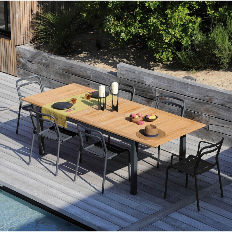 Table de jardin de repas Tempo rectangulaire gris / teck de 6 à 10 personnes