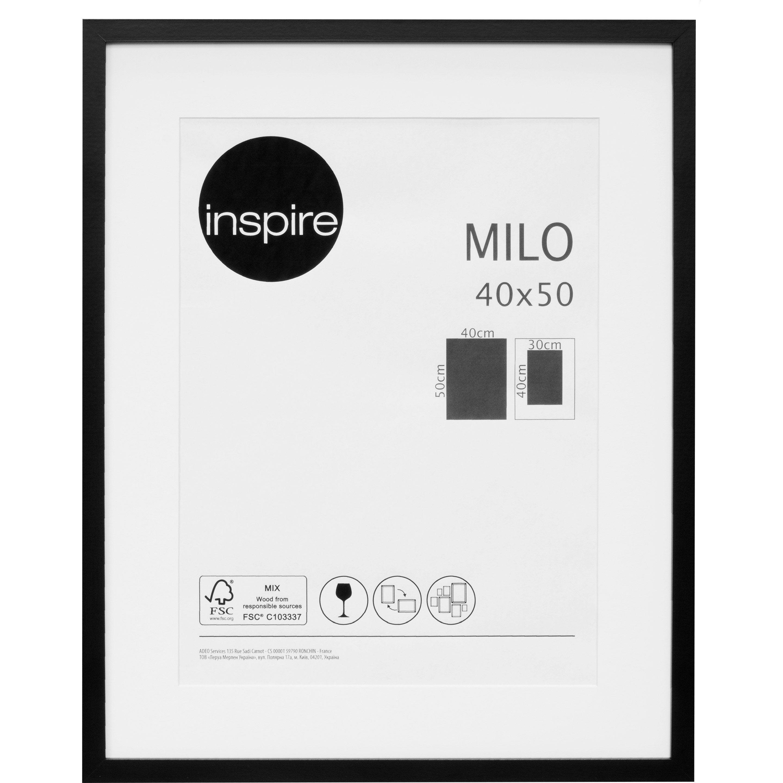 Cadre Milo, l.40 x H.50 cm, noir