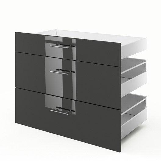 3 tiroirs de cuisine gris rio x x cm leroy merlin. Black Bedroom Furniture Sets. Home Design Ideas