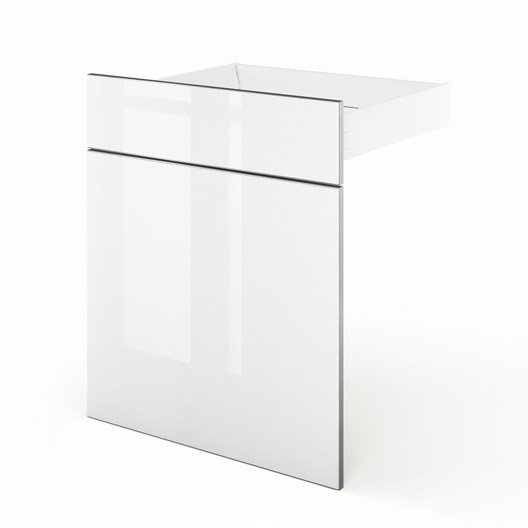 Porte et tiroir de cuisine blanc everest x x p for Tiroir cuisine 30 cm