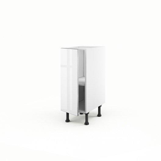 Meuble de cuisine bas blanc 1 porte everest x x for Caisson cuisine 30 x 70