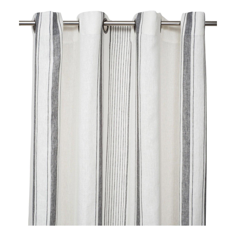 Rideau tamisant, lin, Florence blanc et gris l.140 x H.280 cm