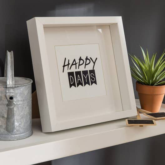 cadre vitrine milo 25 x 25 cm blanc leroy merlin. Black Bedroom Furniture Sets. Home Design Ideas