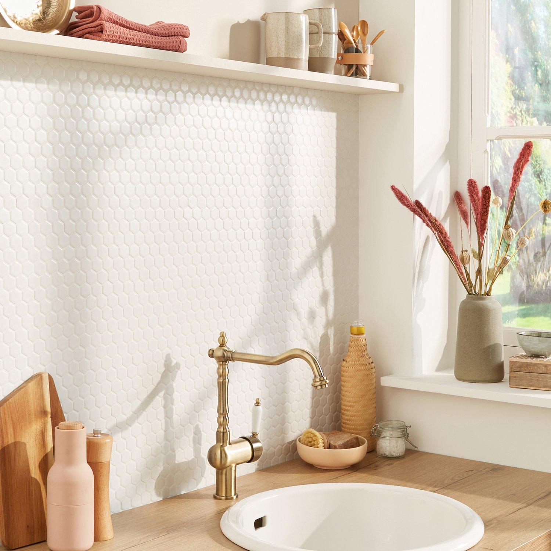 Mosaïque blanche hexa salle de bain | Leroy Merlin