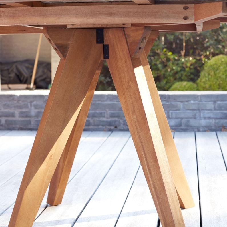 Table de jardin de repas Céramique rectangulaire marron 6/8 personnes