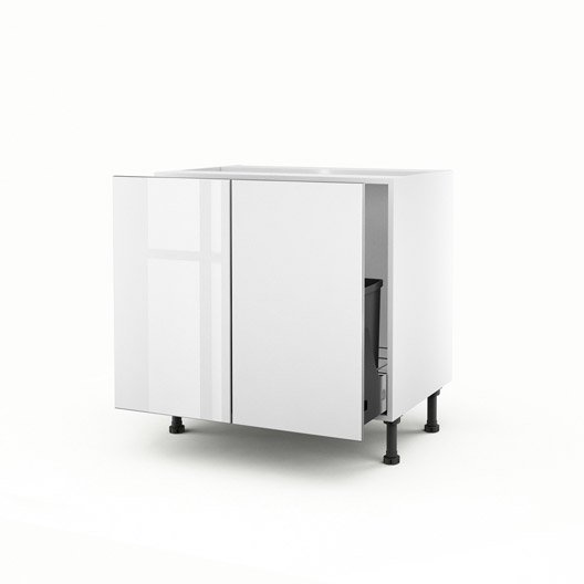 Meuble de cuisine sous vier blanc 2 portes everest x - Meuble sous evier 70 cm ...