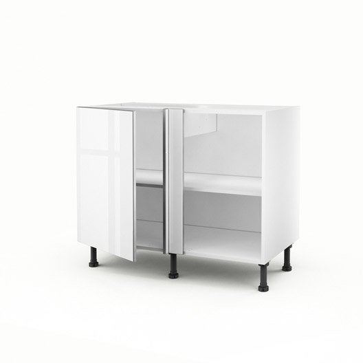 meuble de cuisine bas d 39 angle blanc 1 porte everest x x cm leroy merlin. Black Bedroom Furniture Sets. Home Design Ideas