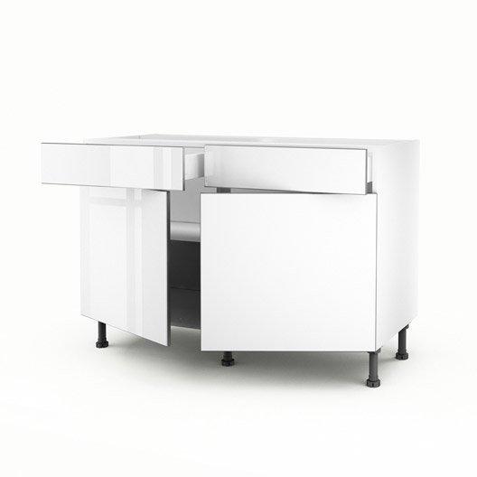 Meuble de cuisine bas blanc 2 portes 2 tiroirs everest x x cm leroy merlin - Meuble bas de cuisine 120 cm ...