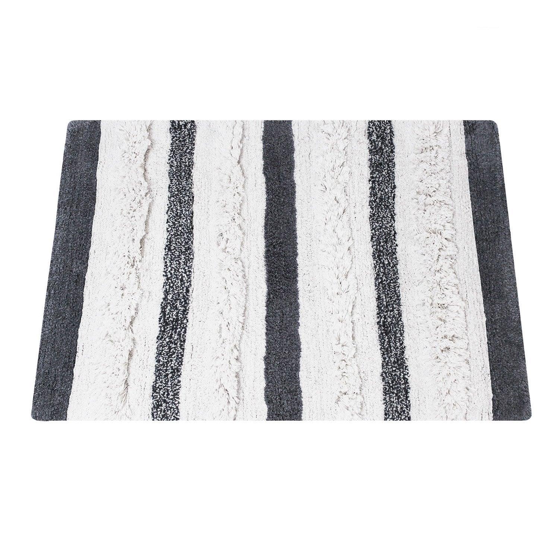 Tapis de bain l.60 x L.90 cm noir et blanc, Berbere SENSEA