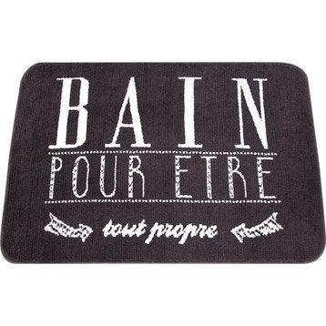 Tapis de bain l.55 x L.85 cm noir et blanc, Soft SENSEA