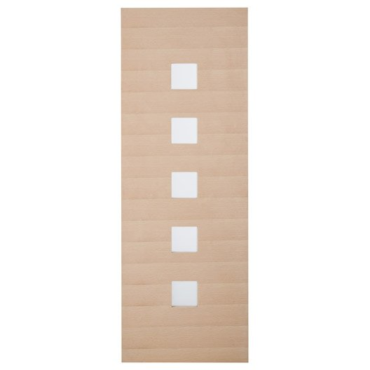 Porte coulissante chêne plaquée chêne Leo ARTENS, H.204 x l.73 cm