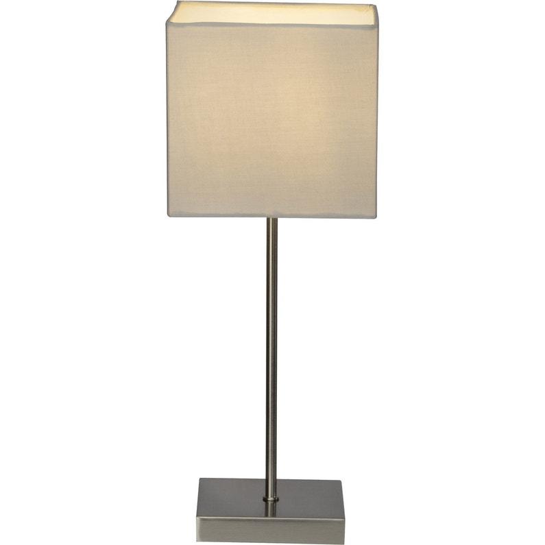 Lampe Tactile E14 Aglae Brilliant Tissu Gris Clair 40 W