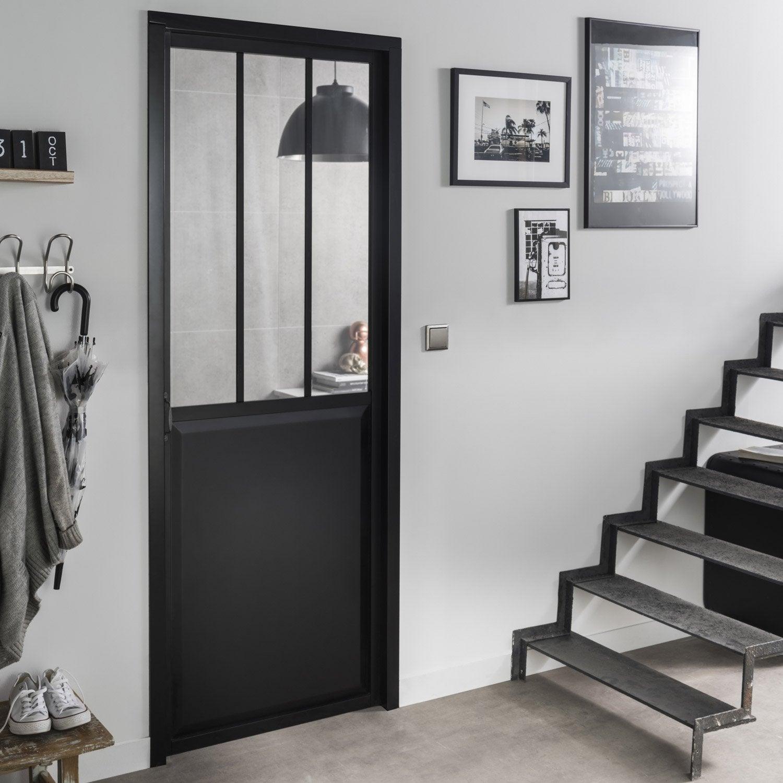 Blocporte Noir Atelier Verre Clair ARTENS H X L Cm Poussant - Porte placard coulissante et porte intérieure type atelier
