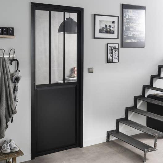 Bloc-porte noir Atelier verre clair ARTENS, H.204 x l.73 cm poussant ...