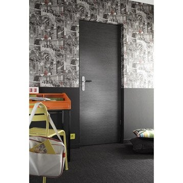 Porte sans bâti mdf revêtu décor chêne grisé Londres, 204x93cm poussant droit