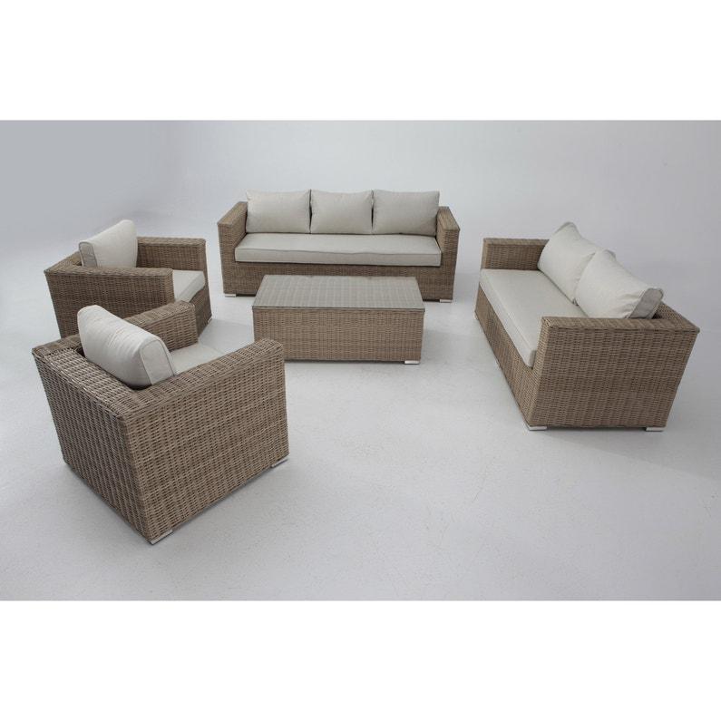 Salon bas de jardin Costa rica aluminium marron, 7 personnes | Leroy ...