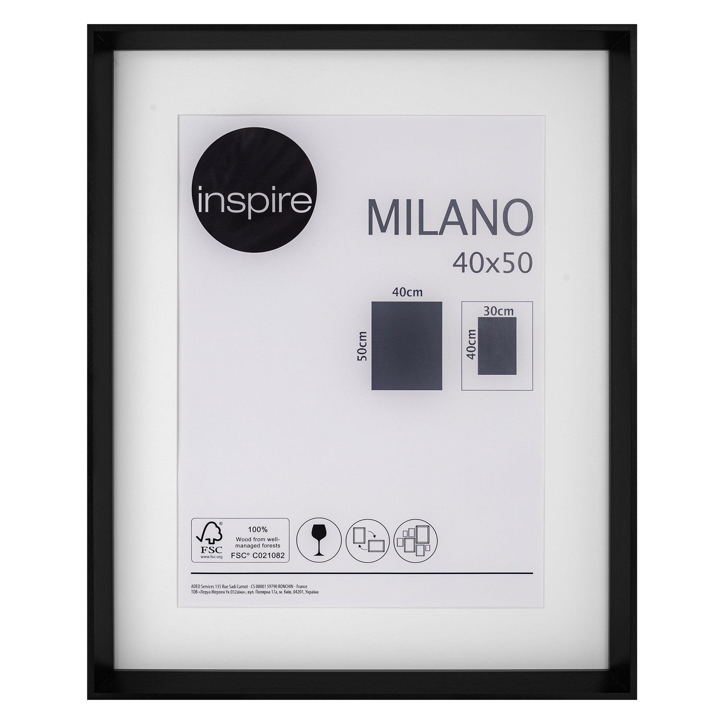 Cadre Milano, l.40 x H.50 cm, noir