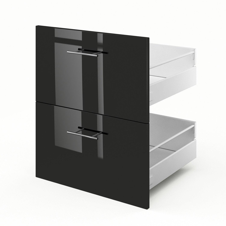 2 tiroirs de cuisine noir Rio, L.60 x H.70 x P.55 cm