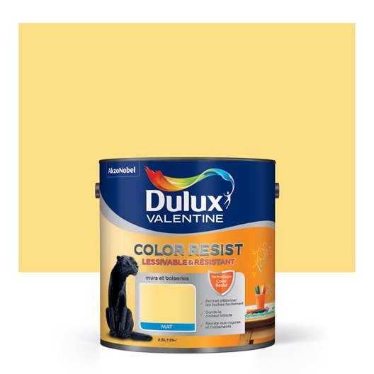 Peinture jaune chrome dulux valentine color resist 2 5 l leroy merlin for Peinture couleur zinc