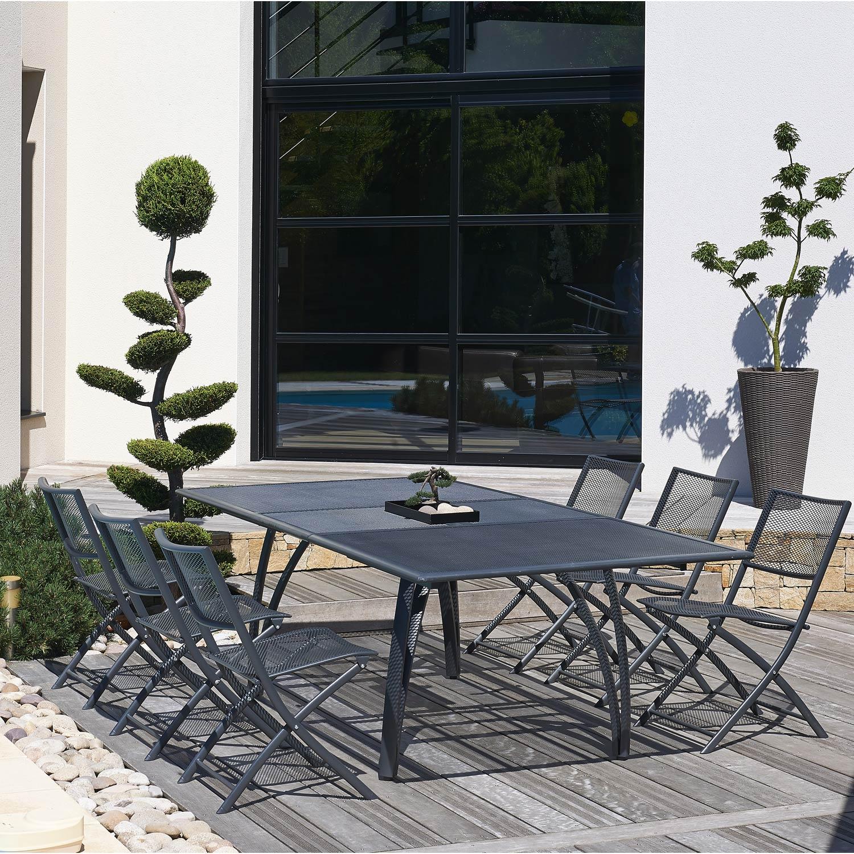 salon de jardin factory gris 8 personnes leroy merlin. Black Bedroom Furniture Sets. Home Design Ideas