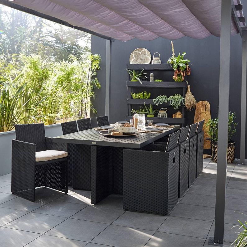 Salon de jardin encastrable résine tressée noir, 8 personnes | Leroy ...