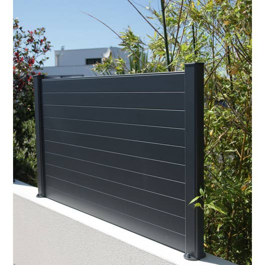 Lame de cl ture aluminium klos 39 up naterial gris zingu h 9 x cm leroy merlin for Cloture alu gris anthracite