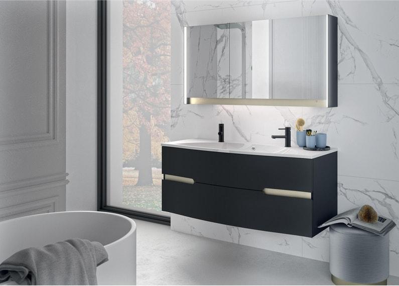 Meuble vasque, Egerie l.129.5 x H.52 x P.51 cm, noir, Egerie