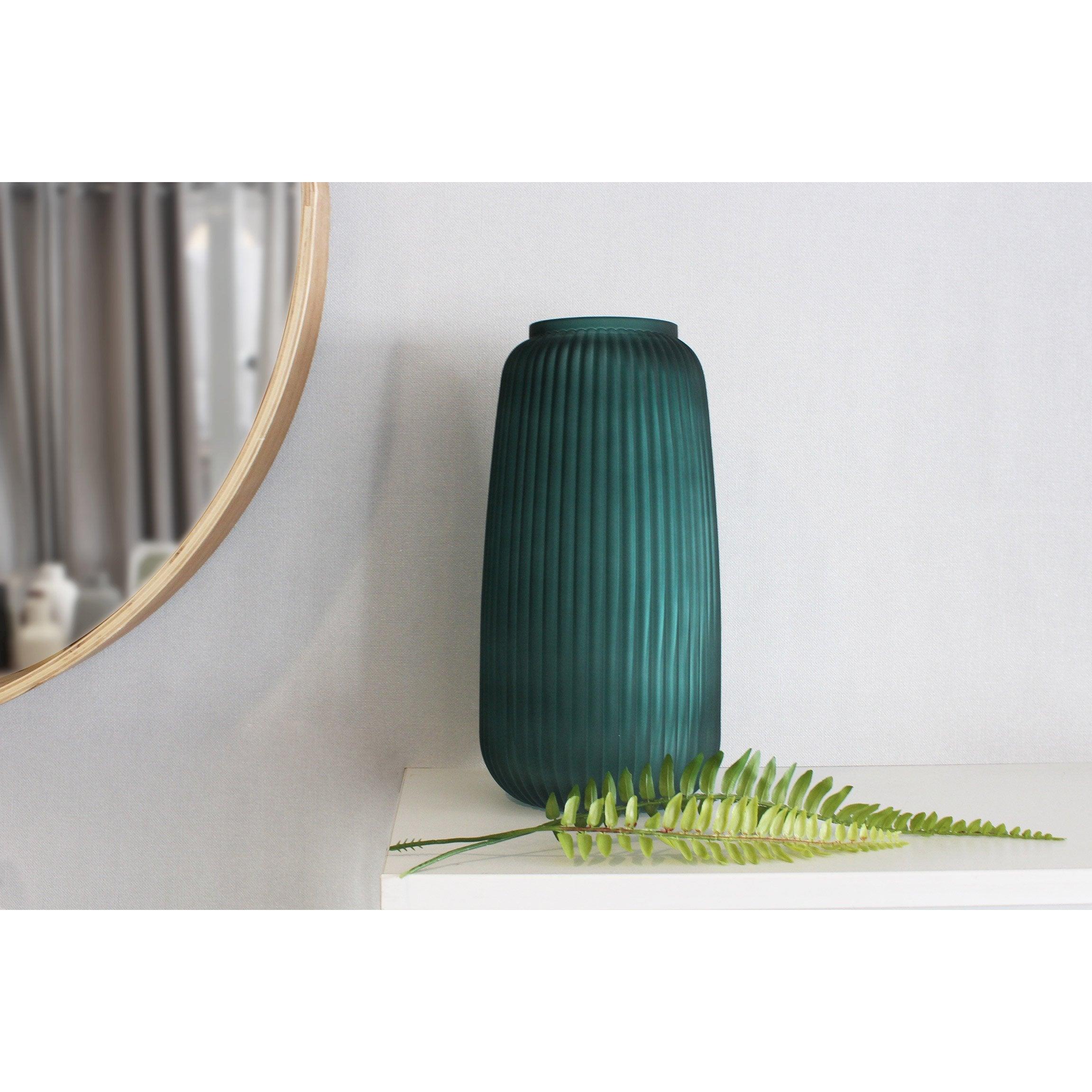 Vase décoratif verre Tanis, vert, Diam.15.5 cm x H.30 cm