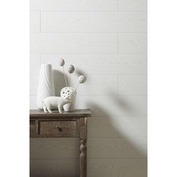 Lambris MDF revêtu sapin blanchi ARTENS, L.129 x l.19 cm, Ep.8 mm