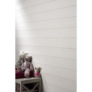 Lambris epicéa brossé blanc-blanc n°0, L.237 x l.13 cm, Ep.13 mm