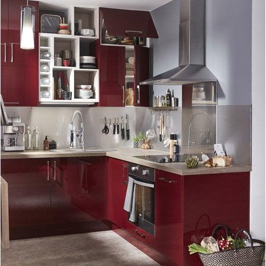 Meuble de cuisine rouge delinia griotte leroy merlin - Meuble cache poubelle cuisine ...