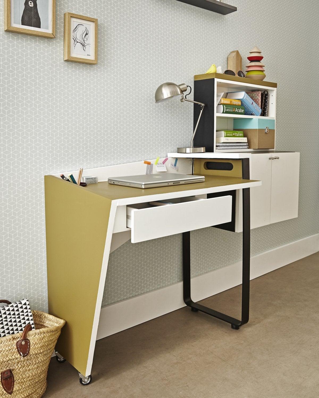 Un bureau qui se d place en un clin d 39 il leroy merlin for Bureau qui s accroche au mur