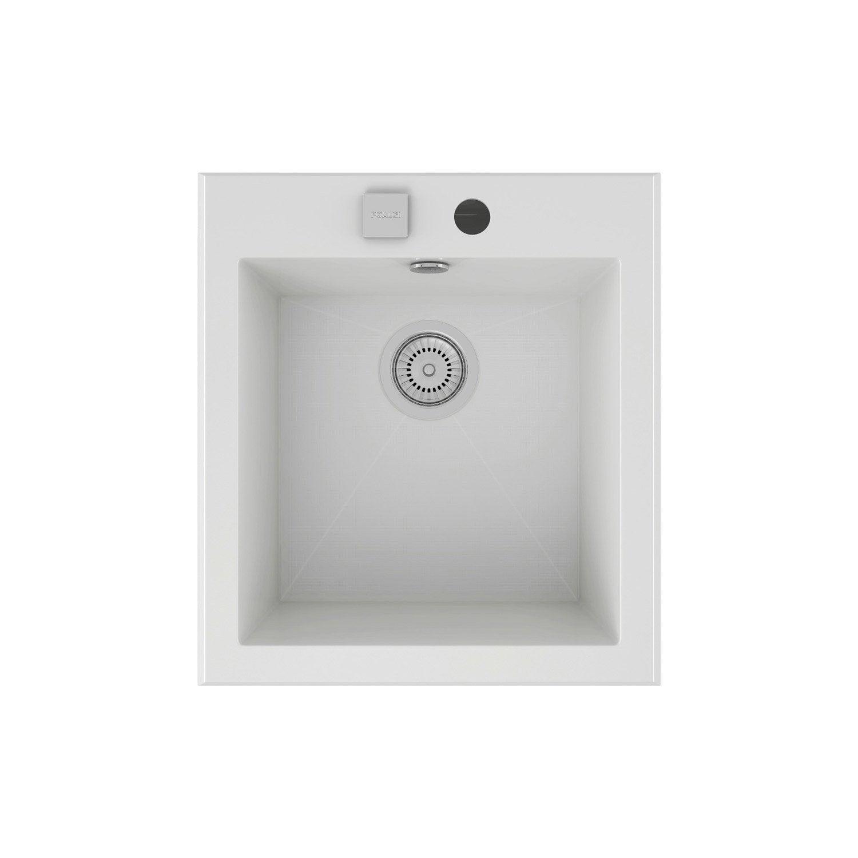 evier encastrer quartz et r sine blanc shira 1 cuve leroy merlin. Black Bedroom Furniture Sets. Home Design Ideas