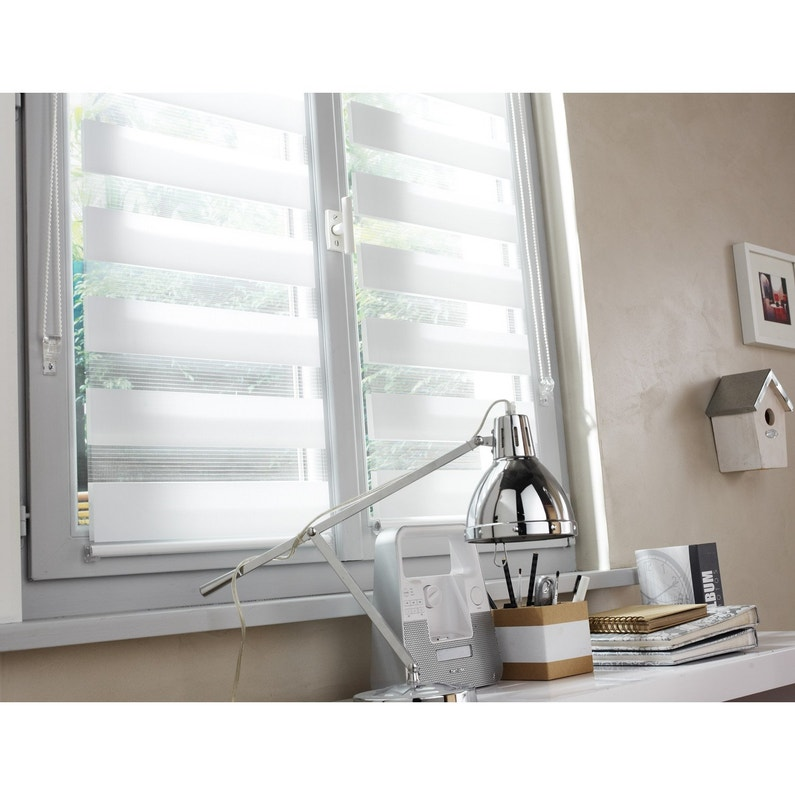Store Enrouleur Jour Nuit Inspire Blanc Blanc N 0 55 X 160 Cm