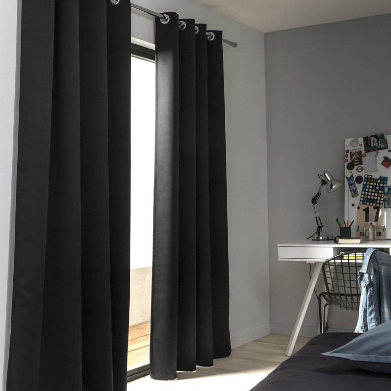 rideau occultant blackout noir noir n 0 x cm inspire leroy merlin. Black Bedroom Furniture Sets. Home Design Ideas