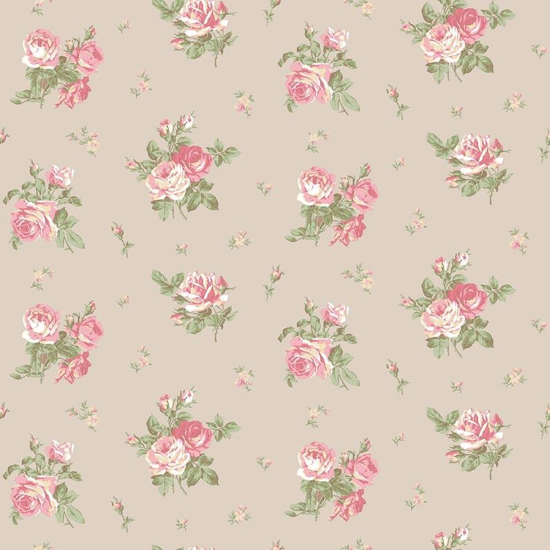 Papier Peint Lutece English Floral Rose Taupe