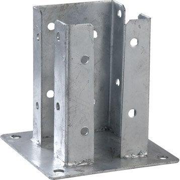 Support à fixer métal à fixer Quick lam gris, H.15 x l.9 x P.9 cm