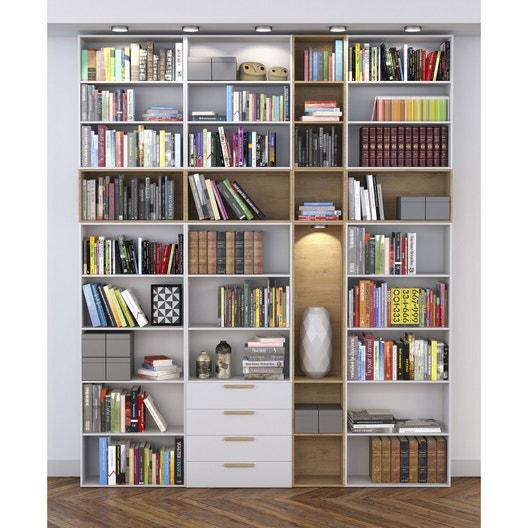 Bibliothèque spaceo home effet chêne