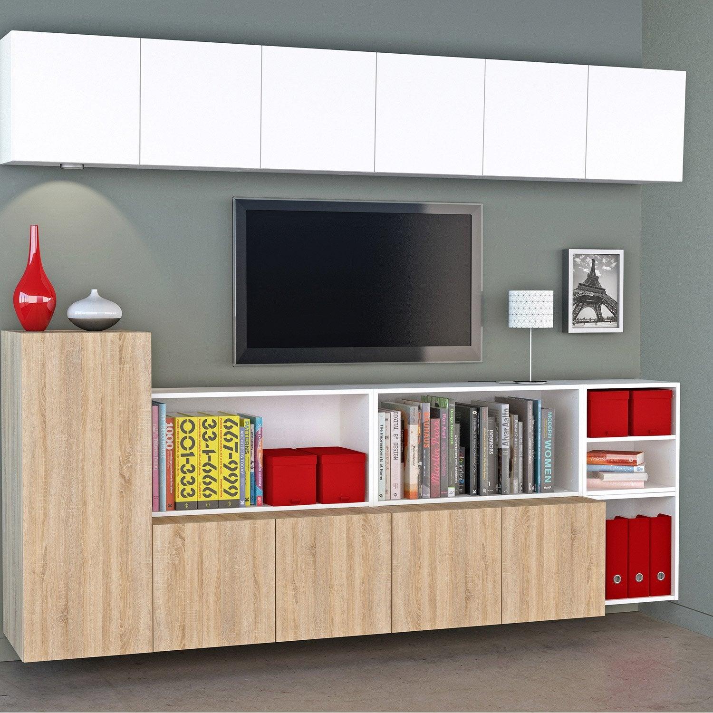 Meuble TV SPACEO Home, effet chêne | Leroy Merlin