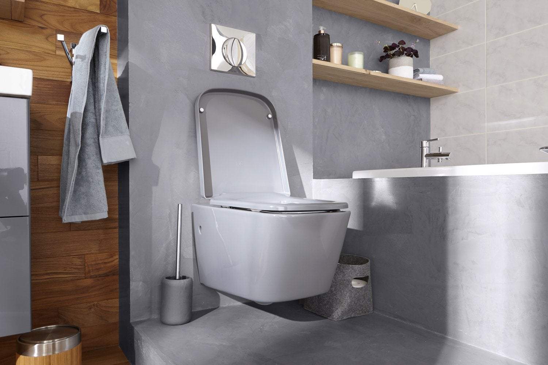 Un WC suspendu dans les tons gris pour une salle de bains chic ...