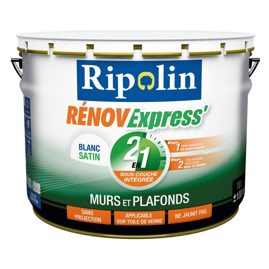 Elegant Peinture Blanche Mur, Plafond Et Boiserie Renov Express RIPOLIN, Satin 10 L