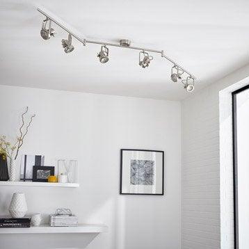 Rampe 6 spots GU10 sans ampoule, 6, acier Technic INSPIRE