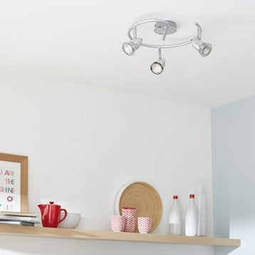 Plafonnier 3 spots sans ampoule, 3 x GU10, acier Worm INSPIRE